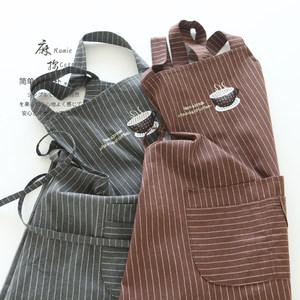 8602日系麻棉条纹家用厨房做饭围腰男女加厚双层防水反穿罩衣围裙