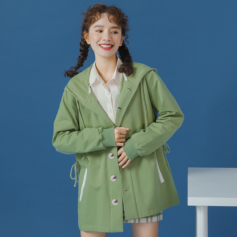 Early autumn one size solid color green Wei Korean new style womens autumn style fashionable loose cardigan hooded long sleeve top women