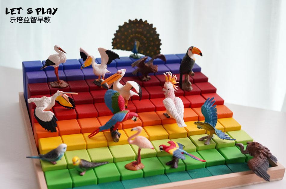 輸出品質!子供たちは鳥類の模型をまねて、クジャクペリカンのオウムのダチョウのフクロウを売ります。