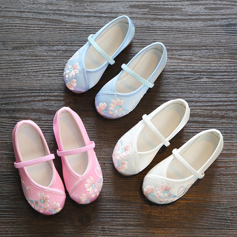 儿童汉服鞋子女童绣花鞋老北京布鞋中国风宝宝学生古装古风演出鞋
