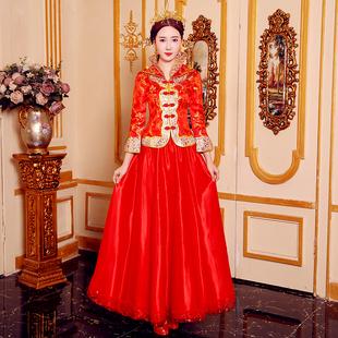 敬酒服2020新款中式新娘結婚禮服紅色婚紗旗袍古裝嫁衣秀禾服女