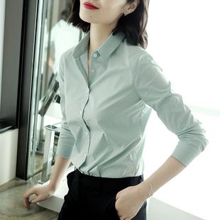 衬衫 女长袖 通勤衬衣2020春季 新款 纯色职业牛油绿色轻熟工作服修身