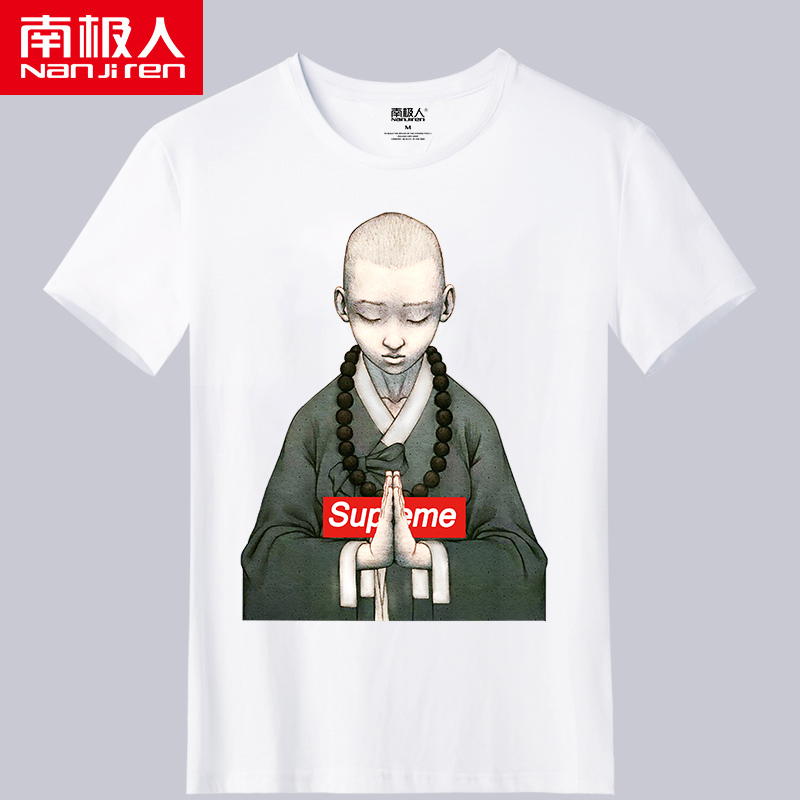 Antarctica short sleeve T-shirt male Buddha printed Abbot loose and handsome half sleeve top, considerate of interesting student trend