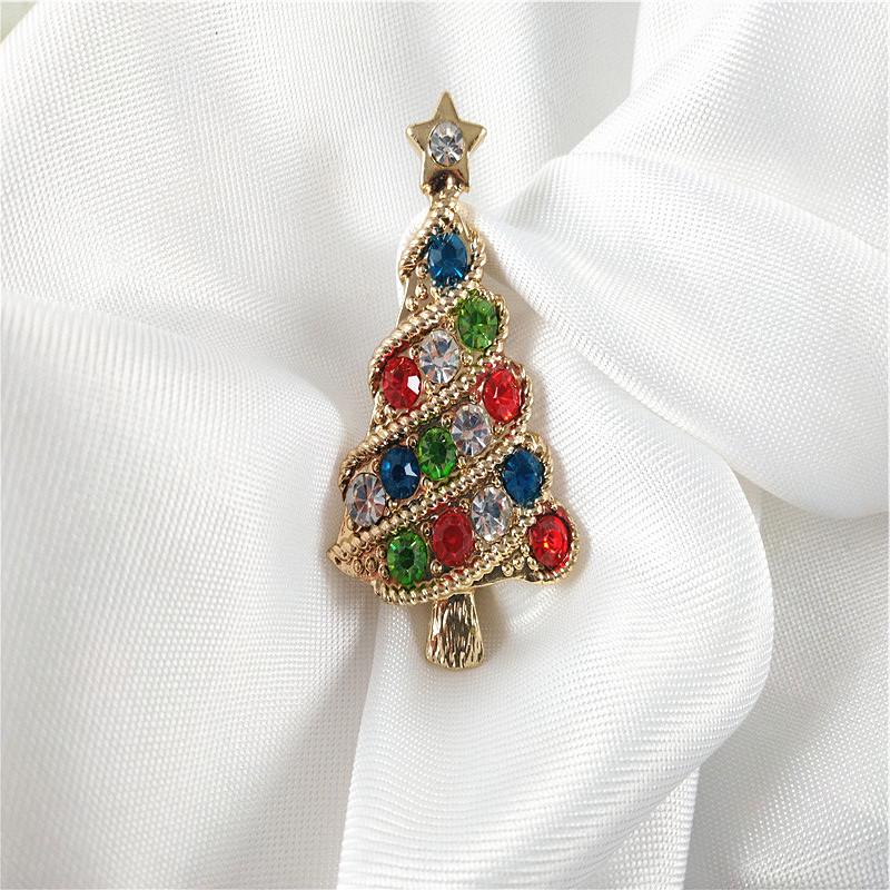 时尚镶钻圣诞树胸针气质学生女彩色玻璃钻质感合金百搭金色配饰
