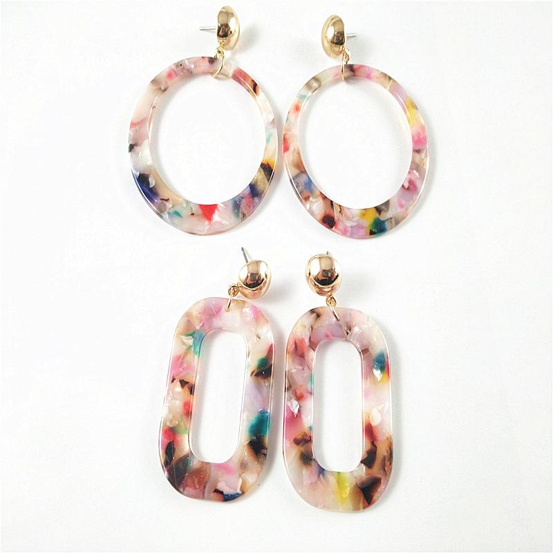 Simple temperament acrylic acetate Earrings fashionable Japanese and Korean versatile trendy women creative geometric exaggeration Earrings
