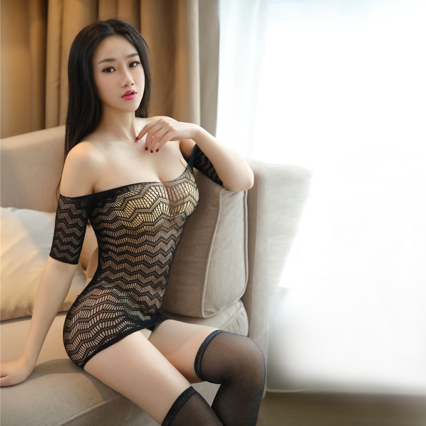 Sexy little wild cat one neck off shoulder back fun net half sleeve no take off one-piece cut-out dress silk stockings suit