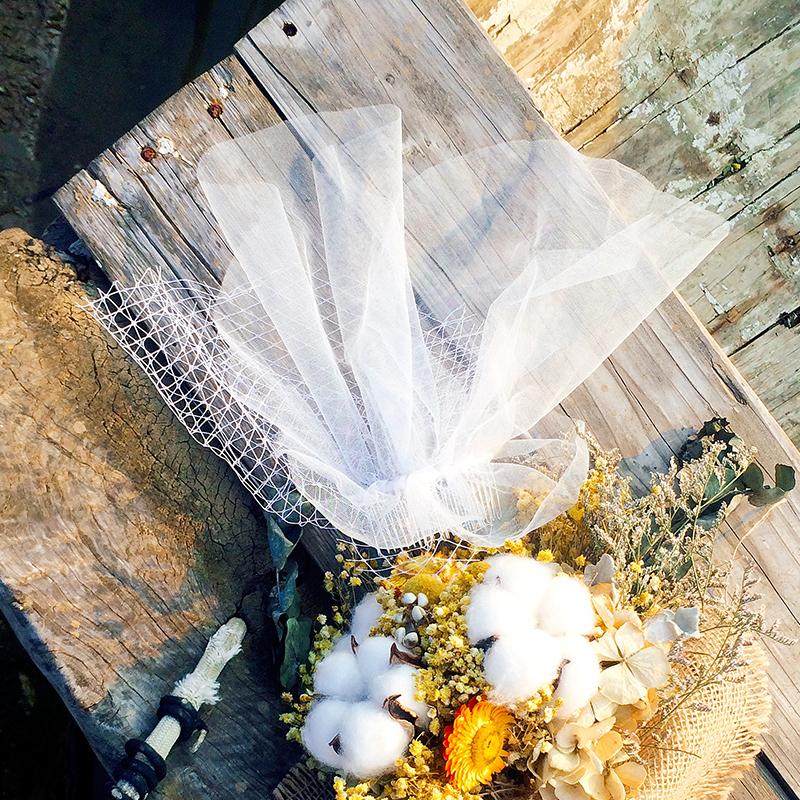 [ рассвет туман ] ретро простой краткое модель крышка лицо пряжа мягкий чистый короткий вуаль невеста свадьба фото бригада бить аксессуары