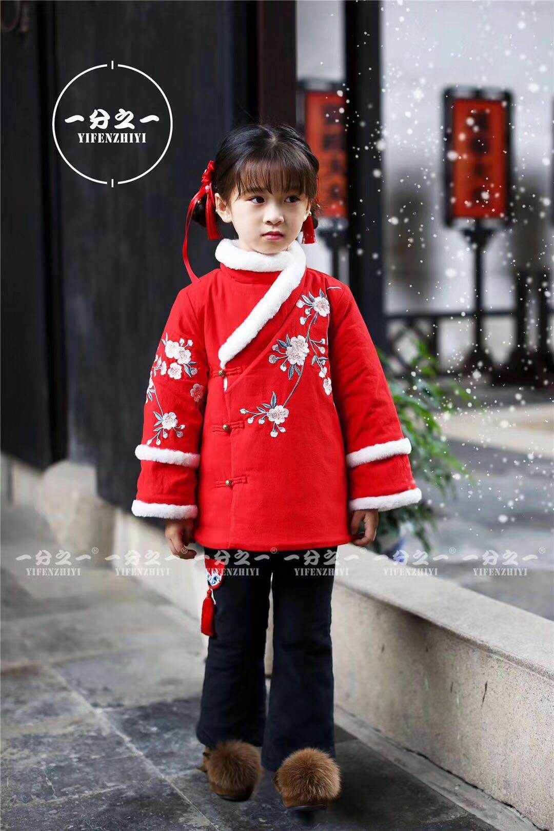 中国风品牌净面包边汉服古装套装刺绣喇叭裤加棉精致斜襟