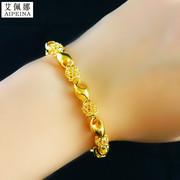 皇室御用3D硬金个性琳琅玲珑手链女款转运珠手链古法固色环环扣