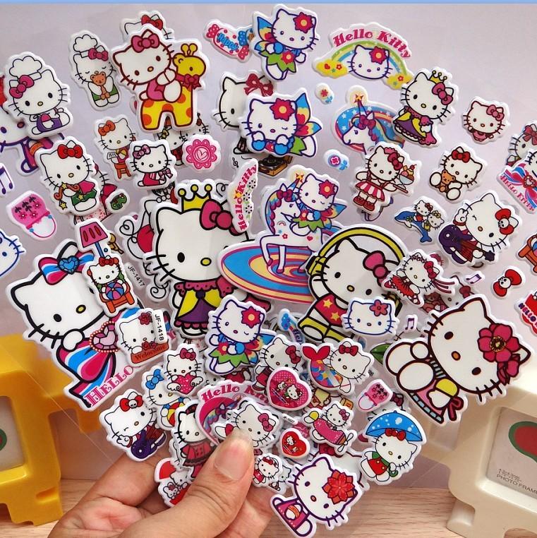 儿童卡通立体泡泡贴凯蒂猫幼儿园公主粘纸贴纸托马斯女孩奖励贴画
