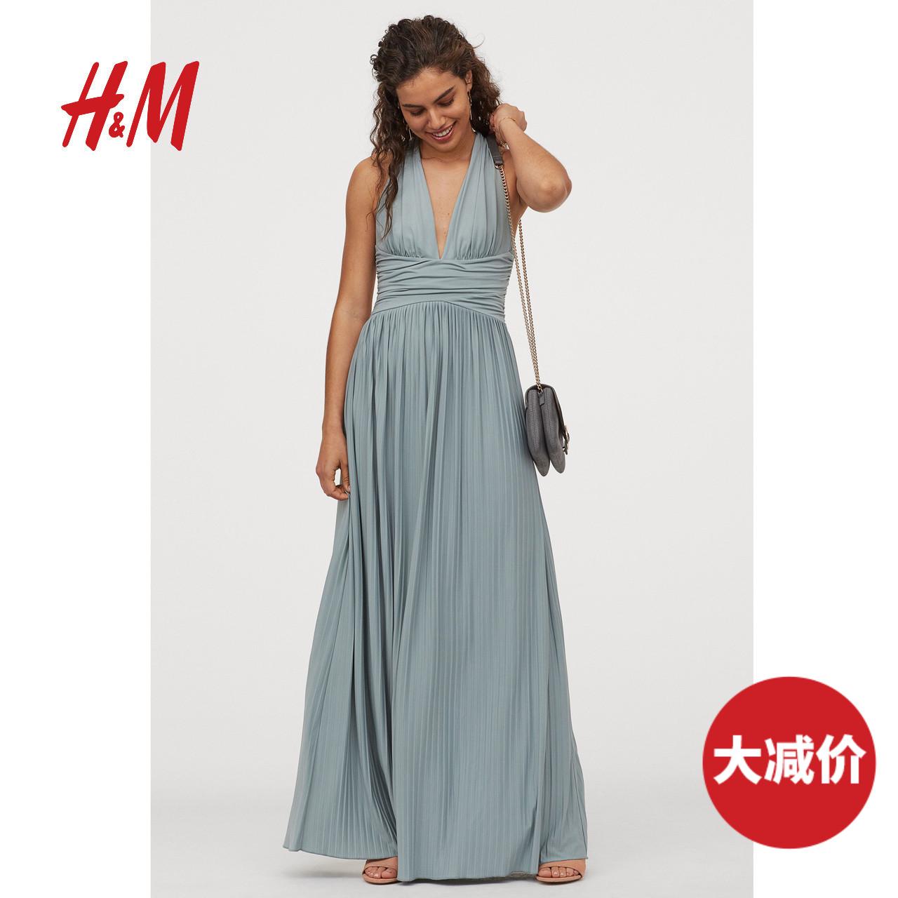 HM 女装女士新年战裙时尚名媛风v领垂坠感年会长款连衣裙 0718086