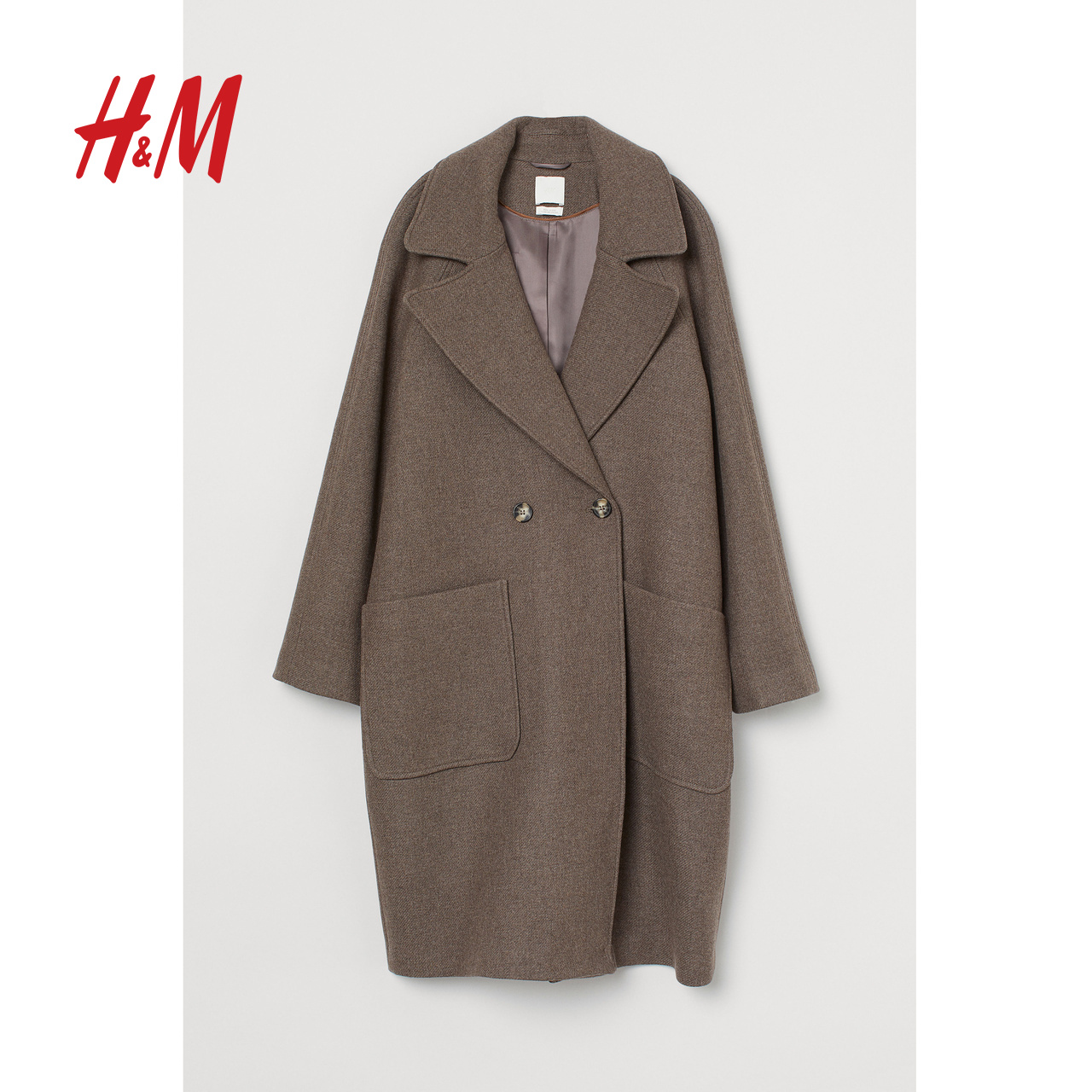 HM women's clothing autumn and winter 2019 temperament wool coat women's medium and long woolen cloth coat women's 0786743