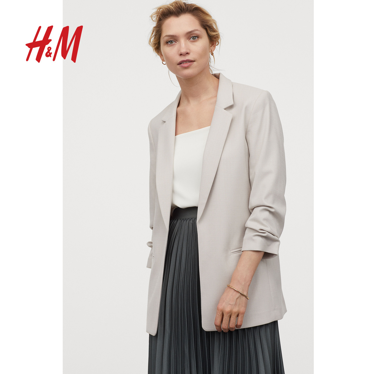 HM women's new suit coat in spring and summer 2020 women's seven sleeve pleated sleeve straight tube suit women's top 0839332