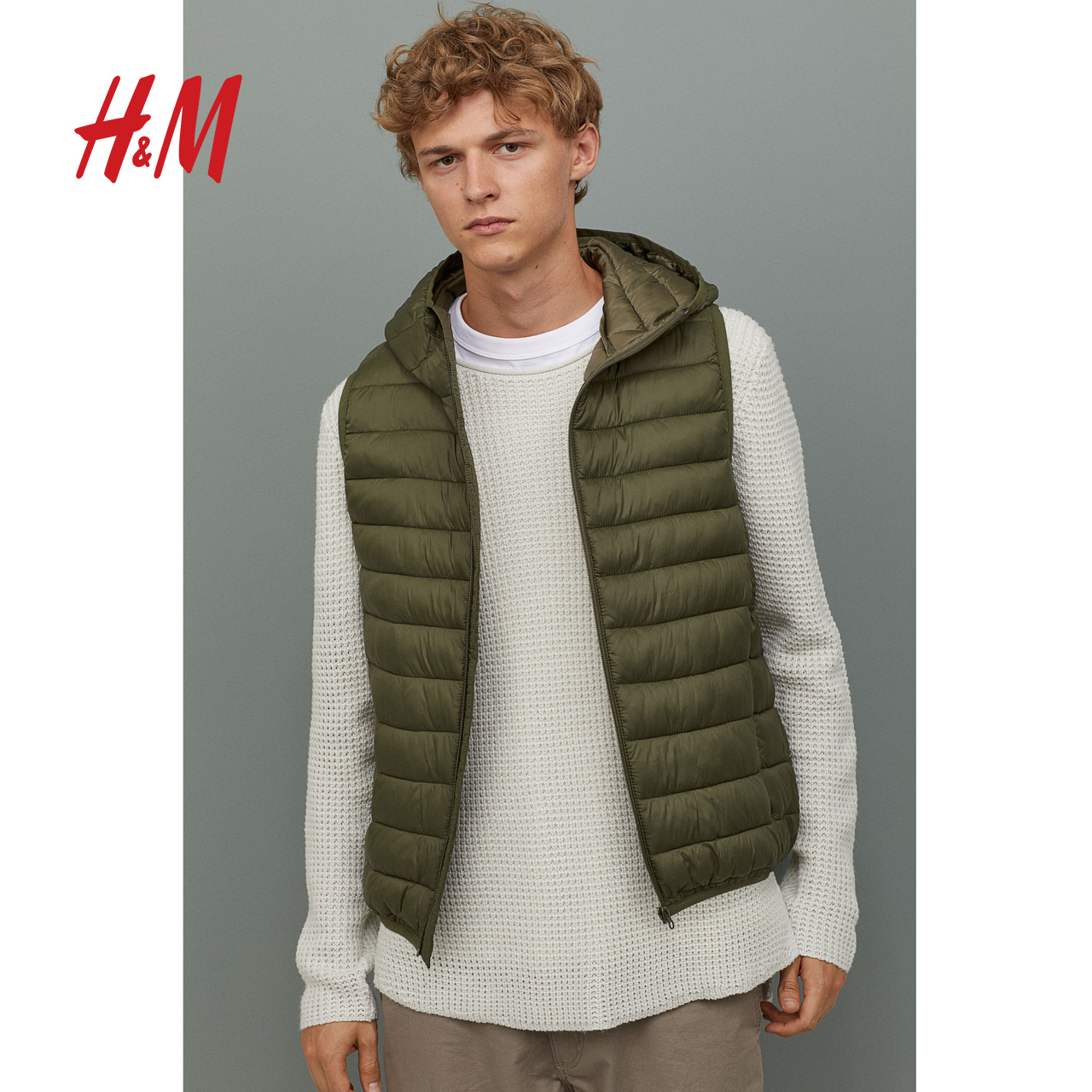 HM divided men's autumn and winter 2019 light cotton jacket vest 0783573