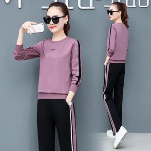 运动套装女秋季2019新款韩版宽松长袖显瘦时尚休闲圆领卫衣两件套
