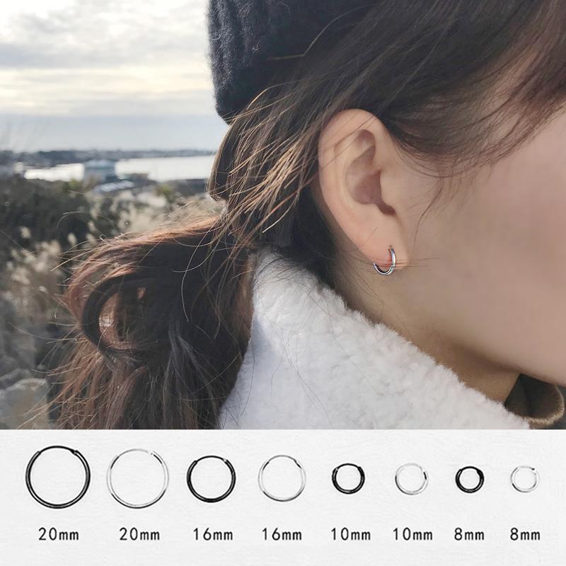 圆环小圈圈耳环男圆圈耳环女纯银耳圈设计感耳钉女小众纯银耳饰女11.80元包邮