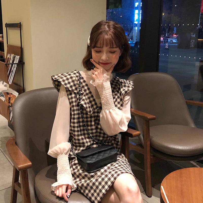 10-27新券2019初秋矮个子时髦泫雅风连衣裙子