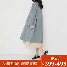Anti-season clearance Hepburn Style 2019 Women's Fashion High-end Double-sided Medium-length Overcoat Women's Cashmere Fabric Coat