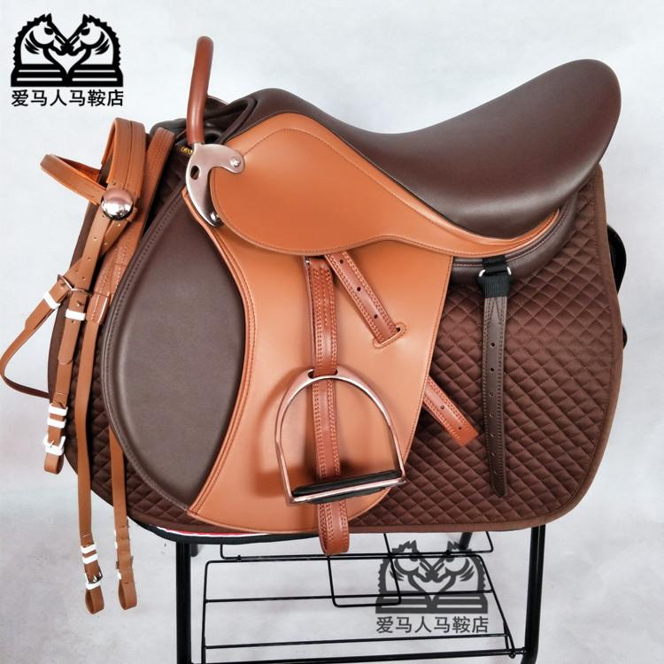 新款英式綜合鞍雙肚帶馬鞍子大小矮馬鞍馬場教練馬術專用鞍