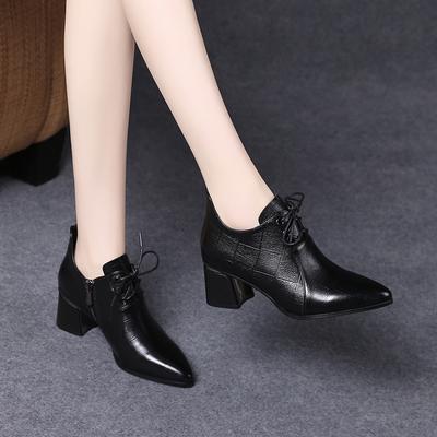 2021新款春秋女鞋中跟系带小皮鞋女真皮深口单鞋春款软皮高跟鞋子