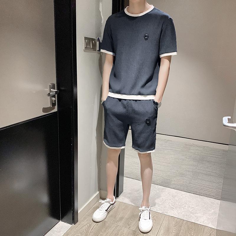 运动套装男夏季短袖短裤休闲服装2019新款韩版潮流时尚帅气两件套