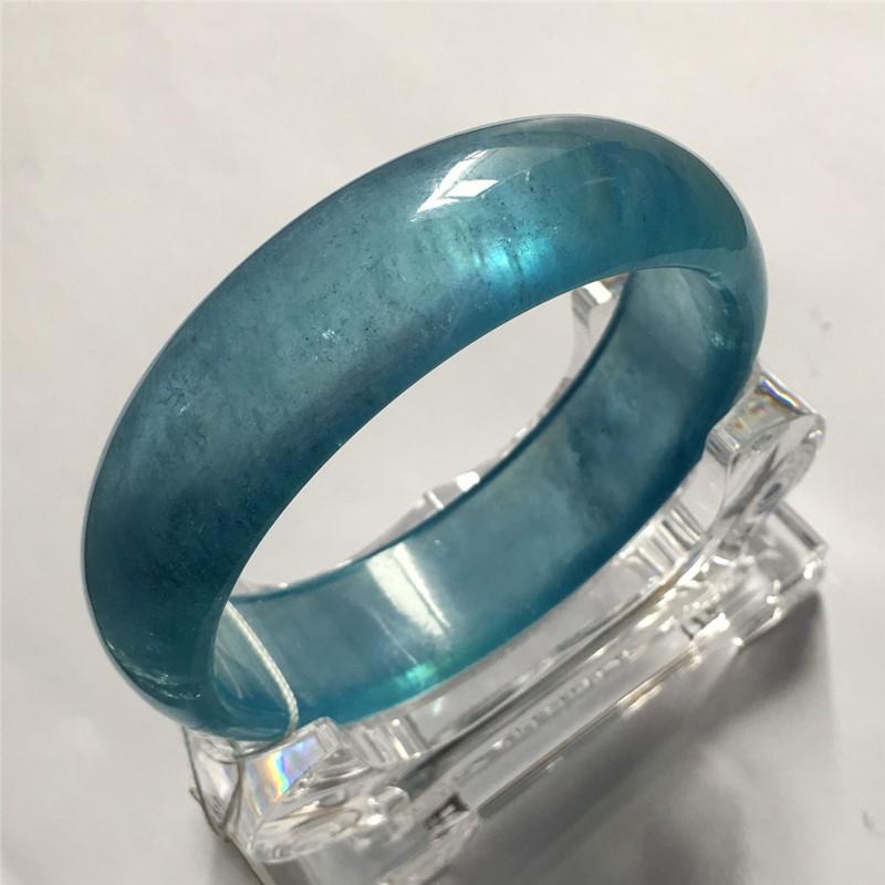 绫罗(饰品)天然冰种海蓝宝石手链吊坠雕刻毛衣链戒指耳环