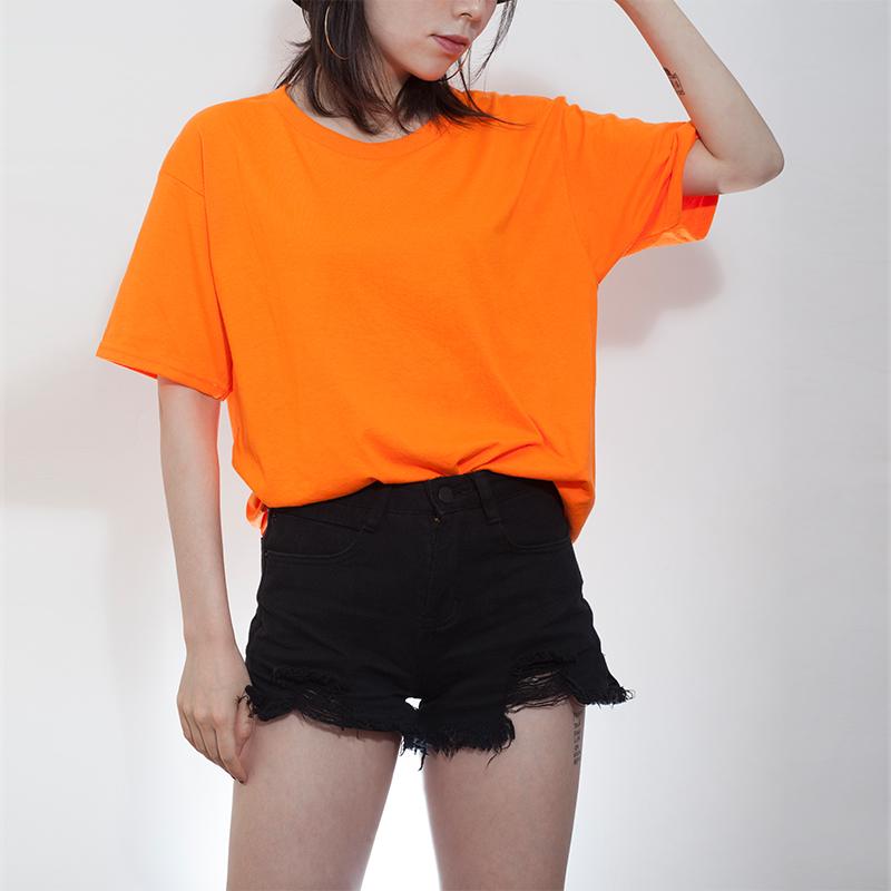 79.00元包邮夏季荧光橙色纯色T恤男女同款2019夏季新品