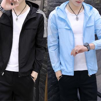 男士防晒衣夏季薄款透气连帽开衫2020韩版拼接青年冰丝抗皱皮肤衣