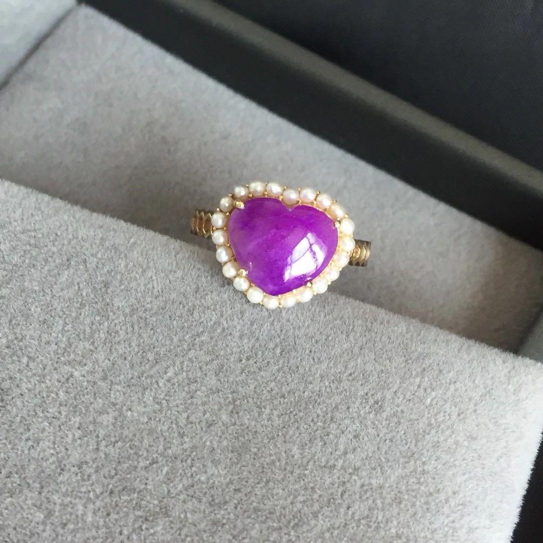 舒俱来爱心戒指果冻紫红爱心裸石18K金+天然珍珠镶嵌13.4*11.5mm