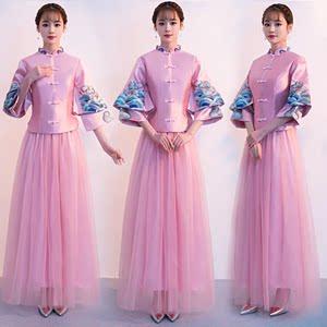 2018新款出租伴娘服姐妹团粉色中式修身显瘦连衣裙复古礼服女结婚