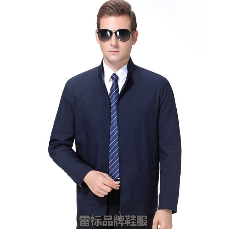 Brand authentic middle-aged jacket mens spring Lapel mens jacket fathers big size jacket mens high-end