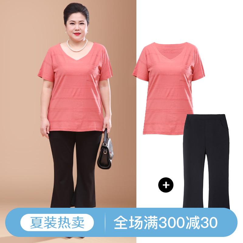 新款胖妈妈大码女士女装T恤套装加肥加大码中年宽松纯棉衣服夏装图片