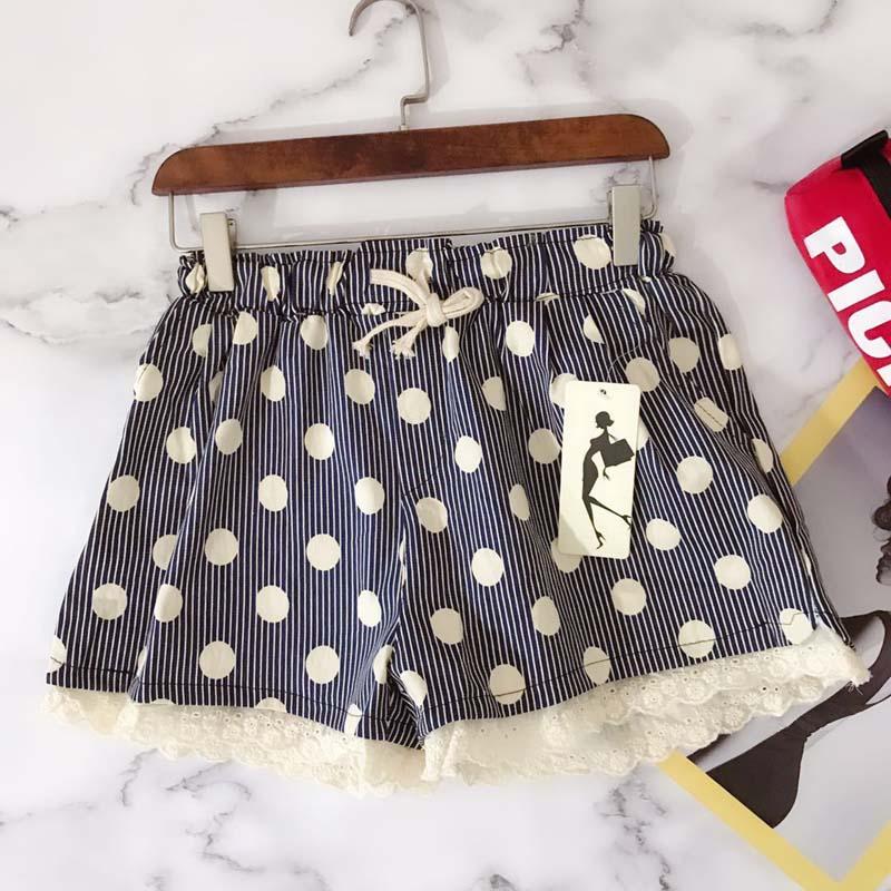 Summer new Mori wave point elastic waist stitching lace stripe loose womens sweet shorts wide leg pants