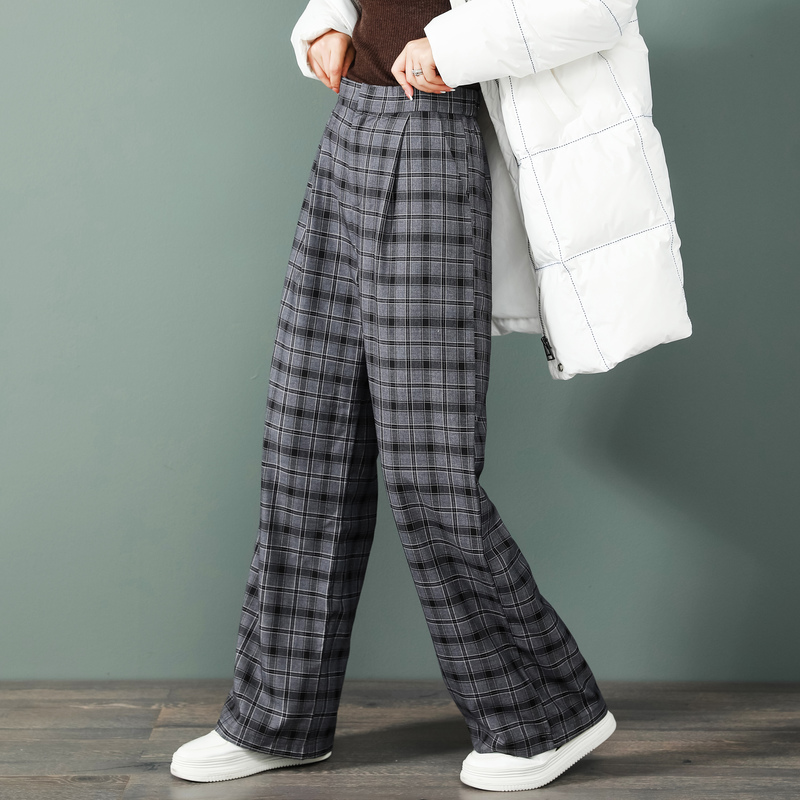 Autumn and winter casual pants womens pants Plaid straight pants 2020 new loose high waist thin hanging feeling wide leg pants