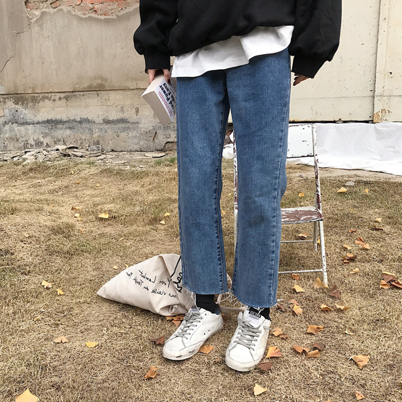 大码直筒九分牛仔裤女秋季加绒新款蓝色显瘦宽松胖mm高腰阔腿裤子