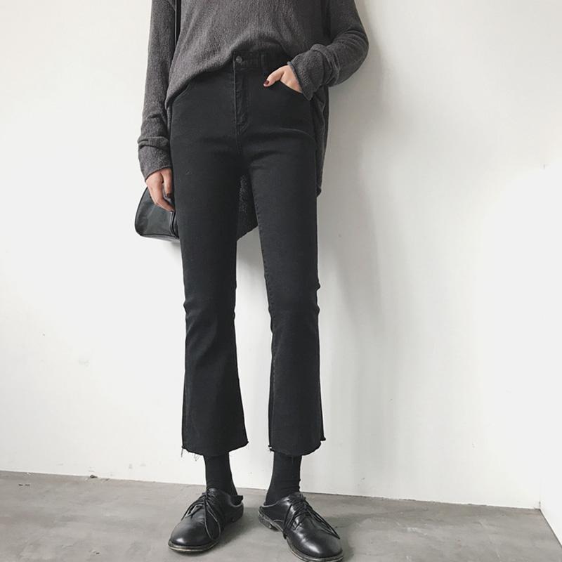 大码加绒牛仔裤女胖妹妹mm秋季2020新款高腰显瘦微喇黑色九分裤子