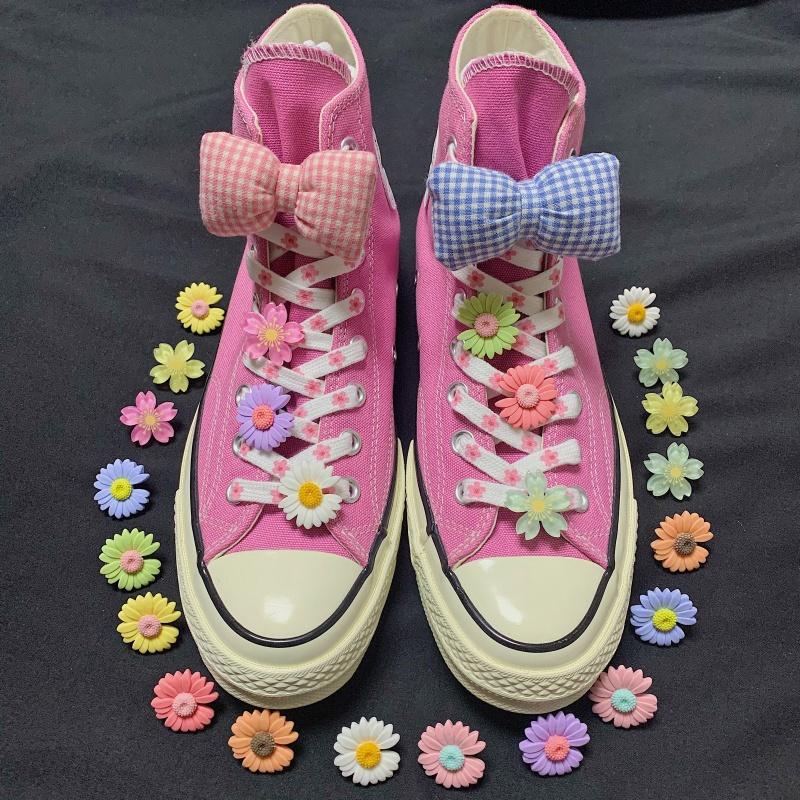 鞋夹蝴蝶结白色小雏菊鞋带扣菊花装饰鞋扣卡通可爱鞋花鞋配件饰品