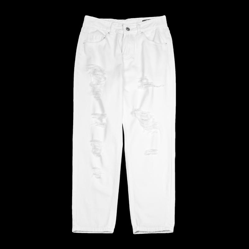 Meijiang 2018 womens white denim straight pants ebw109002