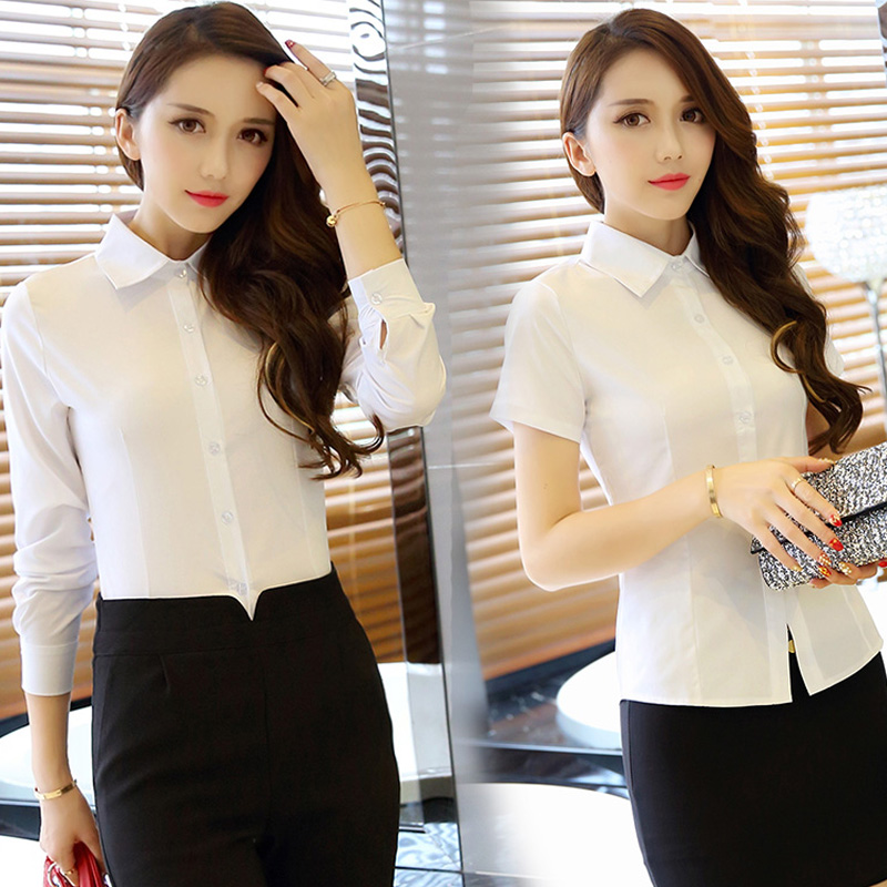 White Long Sleeve Shirt womens new professional formal V-neck top inch work clothes short sleeve shirt in spring and autumn 2020