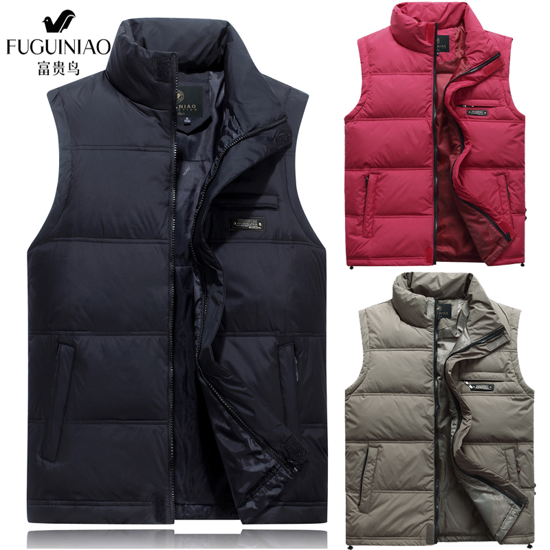 Rich bird fathers down vest for middle-aged and elderly mens thickened large shoulder collar coat loose vest in autumn and winter