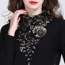 Mimanshi High Neck Lace Plush base coat foreign air autumn winter women's black yarn garment long sleeve small shirt thickened top