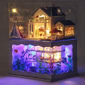 diy小屋夏威夷 海边模型别墅房手工制作拼装制作木质玩具生日礼物