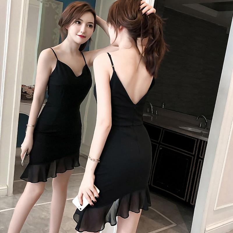 夜场女装性感2018新款夏修身显瘦夜店裙子吊带低胸紧身包臀连衣裙