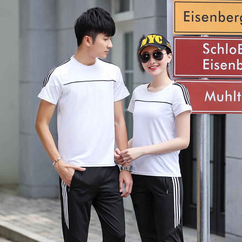 运动套装男夏季薄款跑步服情侣速干两件套女短袖长裤休闲运动服装