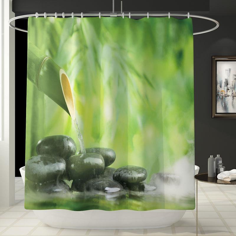 跨境新品中国风竹子印花浴帘地垫四件套浴室垫套装亚马逊热卖