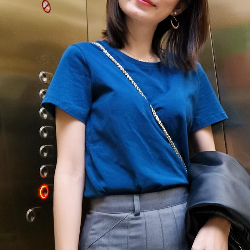 2020年新款经典流行色孔雀蓝夏t恤