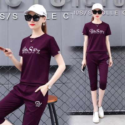 休闲运动套装女夏2020新款短袖七分裤运动服装时尚半袖卫衣两件套