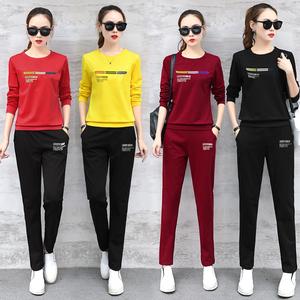 女装韩版卫衣修身薄款运动两件套装休闲长袖大码跑步套装女春秋潮
