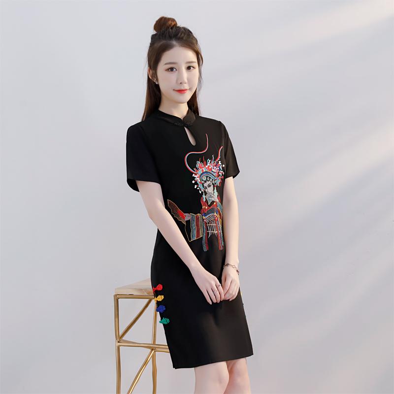 改良版旗袍夏季2018新款连衣裙女夏中国风女装小香风时尚少女清新