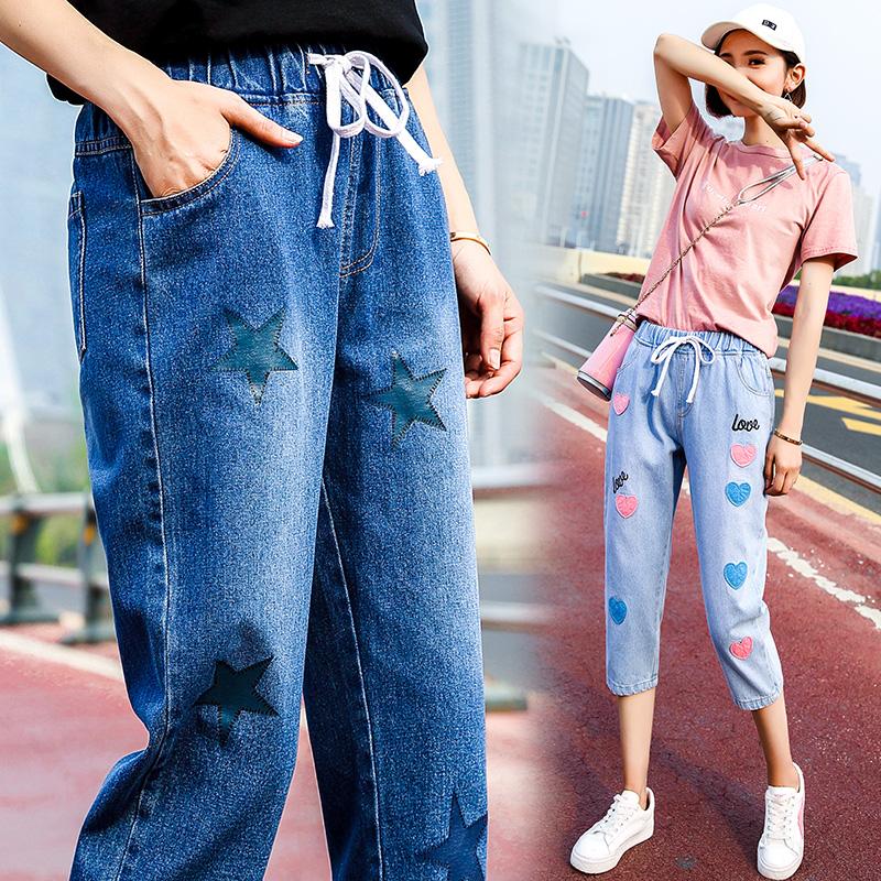 大童七分裤少女2019新款夏季牛仔裤子初中学生韩版潮宽松休闲中裤